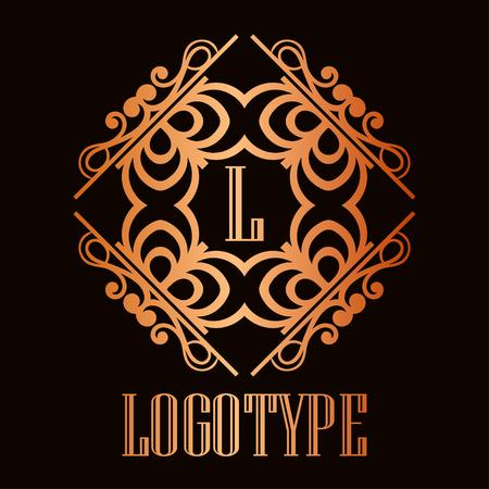 Illustration pour Vintage ornamental logo monogram. Retro luxury frame for design with swirl elements and place for letter or text - image libre de droit