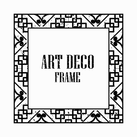 Illustration pour Vintage retro style invitation in Art Deco. Art deco border and frame. Creative template in style of 1920s. Vector illustration eps 10 - image libre de droit