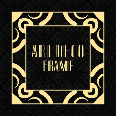 Illustration for Vector geometric frame in modern art deco style. Rectangle vector abstract element for design of badge, logo, label, invitation and packaging of luxury products. Vintage luxury background - Royalty Free Image