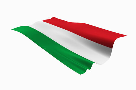 Hungarian national flag and white background.