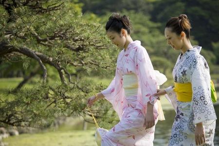 Fresh green and yukata girls