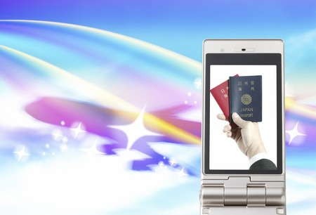 Men with a passport that moves to the mobile screen
