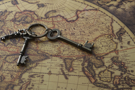 World map and key