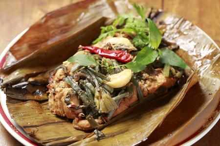 River fish wrapped steamed Myanmar Kachin cuisine