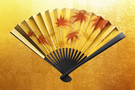 Autumnal leaves and golden fan