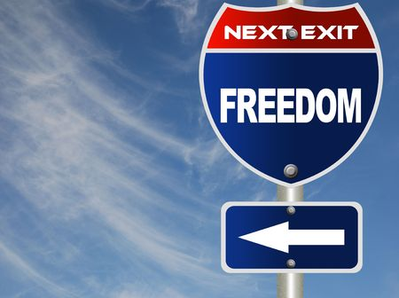 Photo for Freedom road sign  - Royalty Free Image