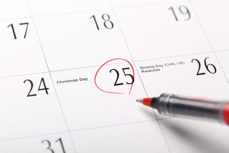 A date circled on a calendar, Christmas