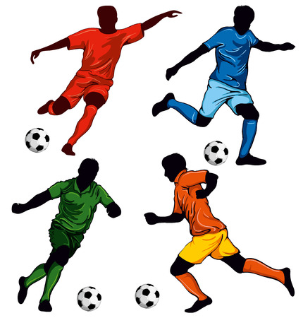 Illustration pour Set of four soccer players in different poses. Beautiful items for your design. - image libre de droit