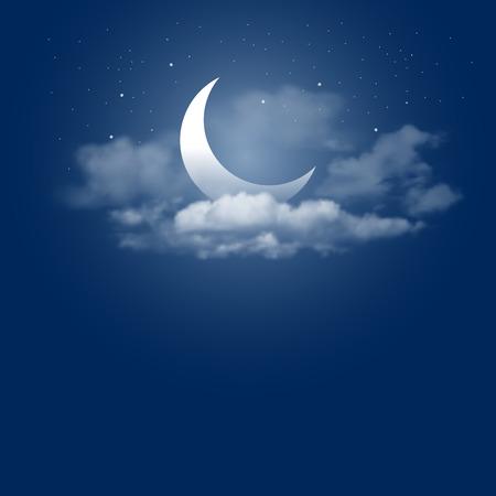 Ilustración de Mystical Night sky background with half moon, clouds and stars. Moonlight night. Vector illustration. - Imagen libre de derechos