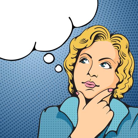 Illustration pour Woman thinking. Pop Art girl. Vector illustration in retro style pop art. - image libre de droit