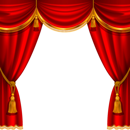 Illustration pour Theater stage with red curtain. Detailed vector illustration. - image libre de droit