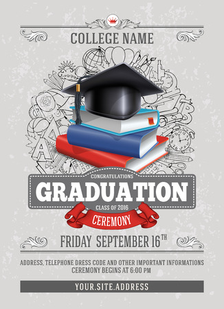 Ilustración de Vector template of announcement or invitation to Graduation ceremony or party with unusual realistic image of Graduation cap and stack of books. There is place for your text. - Imagen libre de derechos