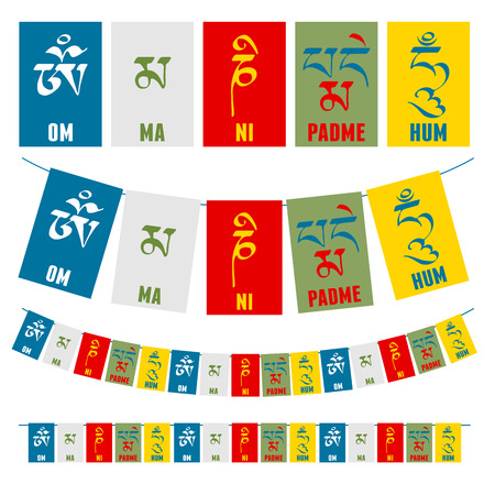 Sanskrit calligraphy of Buddhist Mantra  Om Mani Padme Hum on multicolored flags.