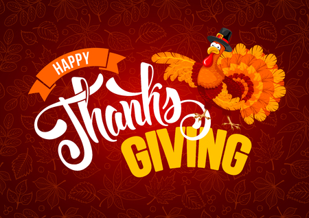 Ilustración de Thanksgiving greeting design with cheerful turkey and calligraphy inscription Happy Thanksgiving Day on red background with leafs pattern. Vector illustration. - Imagen libre de derechos