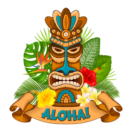 Illustration for Tiki tribal wooden mask, tropical exotic plants and signboard of bar. Hawaiian traditional elements. Isolated on white background. Vector illustration. - Royalty Free Image