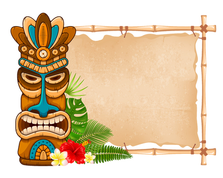 Illustration for Tiki tribal wooden mask, tropical exotic plants and bamboo signboard. Hawaiian traditional elements. Isolated on white background. Vector illustration. - Royalty Free Image