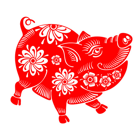 Cute cheerful pig, Chinese zodiac symbol of 2019 year, isolated on white background. Vector illustration.の素材 [FY310104790595]