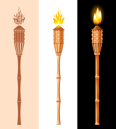 Illustration for Tiki torch set. Burning beach bamboo torch in different styles, graphic, cartoon and realistic 3D. Vector illustration. Isolated on white background. - Royalty Free Image