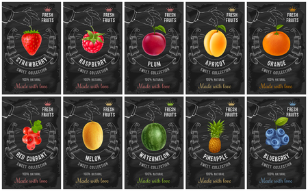 Illustration pour Fruit and berries labels set with realistic fruits and creative design in chalk drawing style. Vector illustration. - image libre de droit