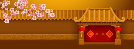 Illustration pour Chinese New Year banner template. Wall and entrance with bamboo roof in Chinese style, decorated with red lanterns. Blooming tree. Chinese Translation - Good Luck. Vector illustration. - image libre de droit