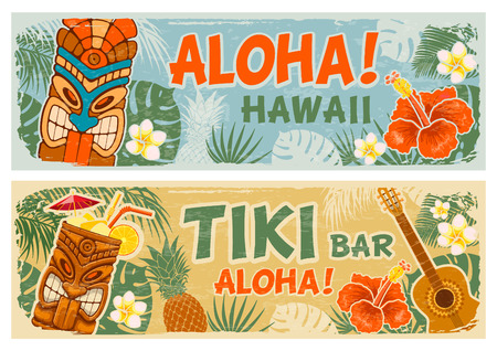 Illustration for Horizontal banners set with Tiki mask and other hawaiian different symbols in vintage style. Hawaiian summer party. Tiki bar sign board. Vector illustration. - Royalty Free Image