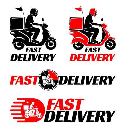 Illustration pour Logotypes design set for fast delivery of food or parcel by scooter. Vector illustration. - image libre de droit