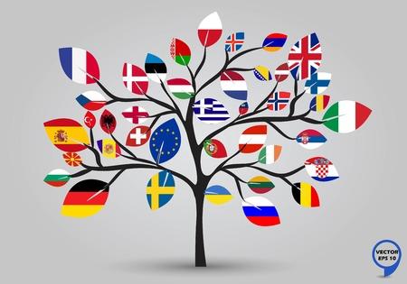 Illustration pour Leaf flags of europe in tree design  Vector illustration   - image libre de droit