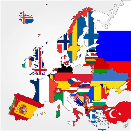 Illustration pour Highly Detailed Europe Map With Country Flags   - image libre de droit