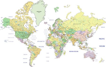 Illustration pour Highly detailed political World map with labeling. Vector illustration. - image libre de droit