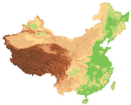 Illustration pour High detailed China physical map. - image libre de droit