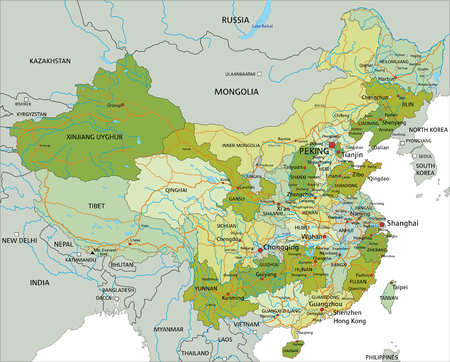 Illustration pour Highly detailed editable political map with separated layers. China. - image libre de droit