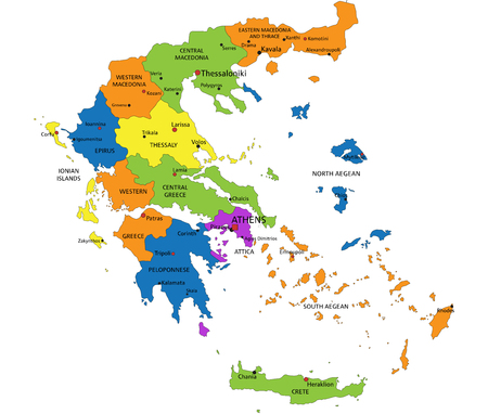 Illustration pour Colorful Greece political map with clearly labeled, separated layers. Vector illustration. - image libre de droit
