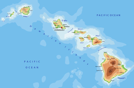 Illustration for High detailed Hawaii physical map with labeling. - Royalty Free Image