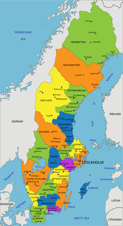 Illustration pour Colorful Sweden political map with clearly labeled, separated layers. Vector illustration. - image libre de droit
