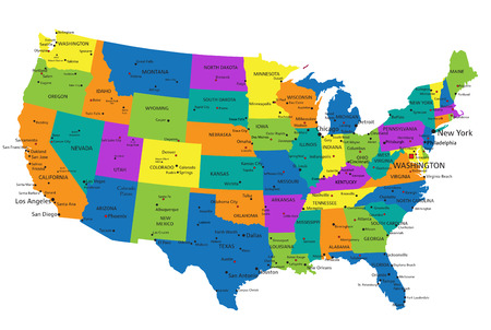Illustration pour Colorful United States of America political map with clearly labeled, separated layers. Vector illustration. - image libre de droit