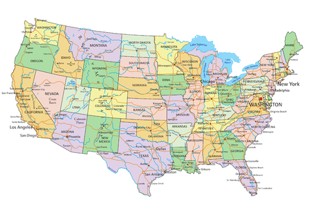 Illustration pour United States of America - Highly detailed editable political map with labeling. - image libre de droit