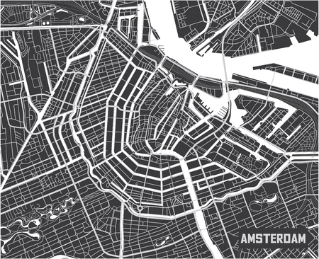 Illustration for Minimalistic Amsterdam city map poster design. - Royalty Free Image