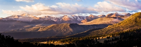 Panarama of Long's Peak and the continental divide in Rocky Mountain National Park as seen from deer ridge.