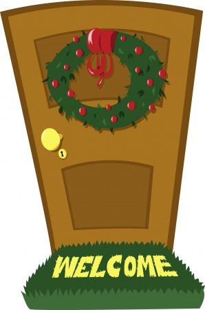 A closed door and a Christmas wreath