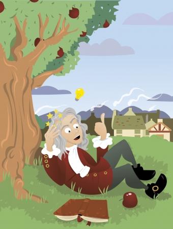 Illustration pour a vector cartoon, representing Sir Isaac Newton - image libre de droit