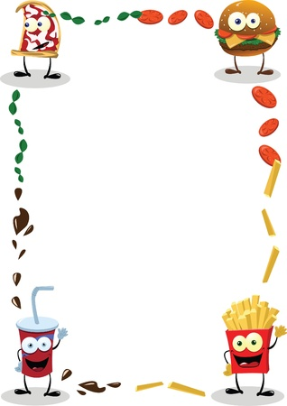 a funny food frame, useful for menus
