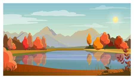 Illustration pour Landscape with lake, trees, sun and mountains in background. Nature, autumn concept. Flat style vector illustration. For leaflets, brochures, wallpapers, posters or banners. - image libre de droit