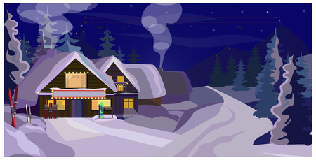 Illustration pour Winter landscape with guest houses vector illustration. Snowy country scene. Ski resort concept. For websites, wallpapers, posters or banners. - image libre de droit