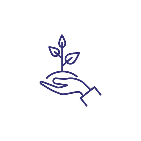 Illustration pour Care of plant line icon. Hand, holding, sapling, leaf. Gardening concept. Vector illustration can be used for topics like growth, planting, ecology - image libre de droit
