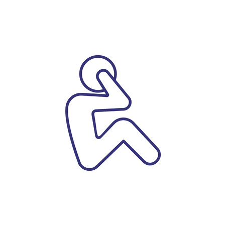 Illustration pour Exercise line icon. Working on abs, crunches, athlete. Sport concept. Vector illustration can be used for topics like fitness, workout, training - image libre de droit