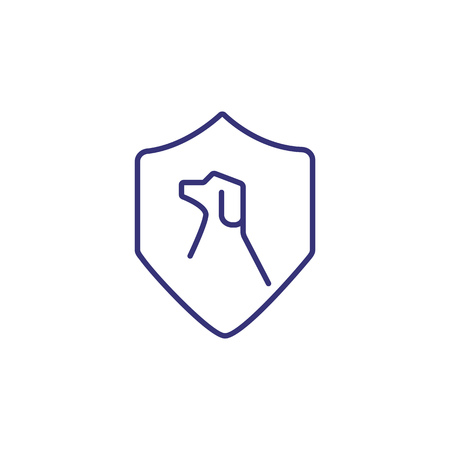Protection of pets line icon. Dog illustration inside protection shield on white background. Insurance concept. Vector illustration can be used for topics like insurance, protection, pet safety