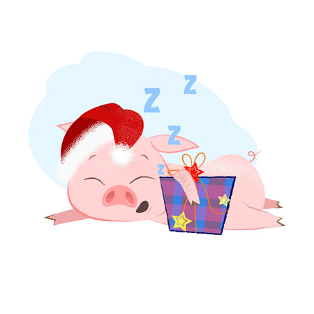 Cute Christmas piggy hugging present box and sleeping. Christmas eve night concept. Vector illustration can be used for banner design, festive posters, greeting cards