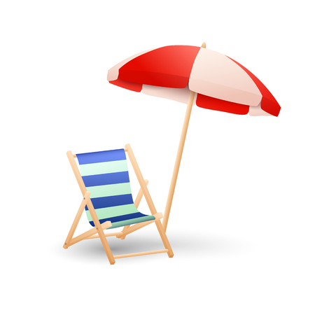 Illustration pour Chaise lounge and parasol vector illustration. Beach, rest, sunbathing. Vacation concept. Vector illustration can be used for topics like summer, travel, recreation - image libre de droit
