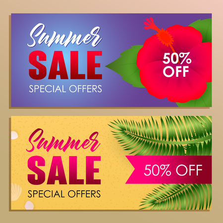 Summer sale banner design with red flower on blue background  Bright