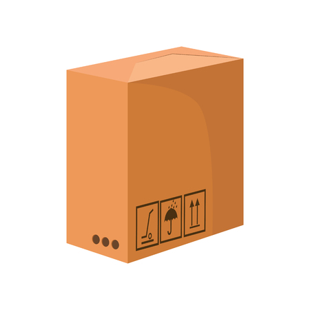Illustration pour Big package cartoon illustration. Carton box keep dry and side up symbols. Cardboard box concept. Vector illustration can be used for topics like delivery, shipping, postal service - image libre de droit